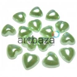 Набор зеленых декоративных перламутровых полубусин под жемчуг, Ø1 см., 15 штук, REGINA