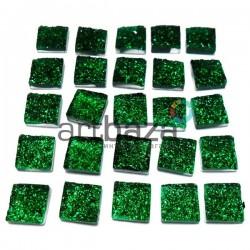 Набор зеленых керамических стеклышек для мозаики, витража и творчества, 10 x 10 мм., 25 штук, REGINA
