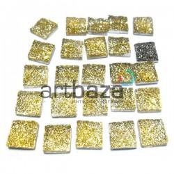 Набор светло - золотых керамических стеклышек для мозаики, витража и творчества, 10 x 10 мм., 25 штук, REGINA
