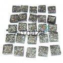 Набор серебряных керамических стеклышек для мозаики, витража и творчества, 10 x 10 мм., 25 штук, REGINA