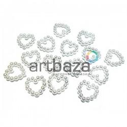 Набор белых декоративных сердец перламутровых (бисерных) из бусинок, 1.2 см., 15 штук, REGINA