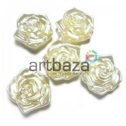 Набор белых декоративных перламутровых роз под жемчуг, Ø1.9 см., 5 штук, REGINA