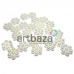 Набор белых декоративных снежинок перламутровых (бисерных) из бусинок, Ø8 мм., 25 штук, REGINA