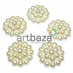 Набор белых декоративных перламутровых цветов из бусин под жемчуг, Ø23 мм., 5 штук, REGINA