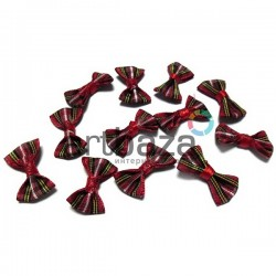 Набор декоративных бантиков тканевых, красная шотландка, 2.5 см., 12 штук, REGINA