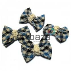 Набор синих декоративных тканевых бантиков (шотланка) с макраме, 4 см., 4 штуки, REGINA