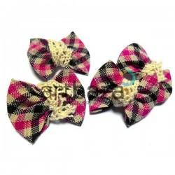Набор розовых декоративных тканевых бантиков (шотландка) с макраме, 4 см., 4 штуки, REGINA