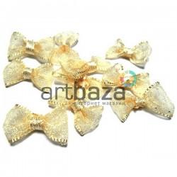 Набор жёлтых декоративных бантиков (горошек) из органзы, 2.5 см., 10 штук, REGINA
