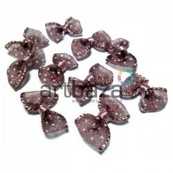 Набор коричневых декоративных бантиков (горошек) из органзы, 2.5 см., 10 штук, REGINA