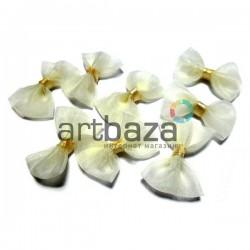 Набор белых декоративных бантиков из органзы, 3.5 см., 8 штук, REGINA