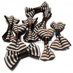 Набор декоративных бантиков тканевых, бело - коричневая полоска, 3.5 см., 8 штук, REGINA