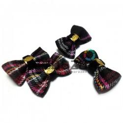 """Набор декоративных бантиков тканевых, красная шотландка, """"Fashion"""", 3.7 см., 4 штуки, REGINA"""
