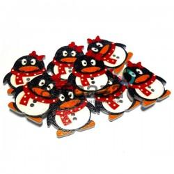 """Набор деревянных декоративных пуговиц """"Пингвин QQ"""", 2.9 x 3.4 см., 8 штук, REGINA"""