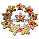 Набор деревянных декоративных звезд - пуговиц с рисунком, Ø2.5 см., 10 штук, REGINA