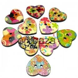 Набор деревянных декоративных сердец - пуговиц с рисунком, 2.5 см., 10 штук, REGINA