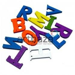 """Набор деревянных декоративных подвесок """"Цветные буквы"""", 2.5 см., 12 штук, REGINA"""