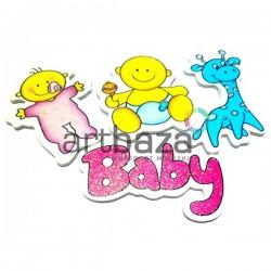 """Набор деревянных декоративных табличек с надписью и рисунками """"Baby"""", 4 штуки, REGINA"""