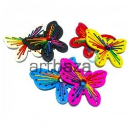 """Набор цветных деревянных декоративных подвесок """"Бабочки"""", 5.5 x 6.5 см., 2 штуки, REGINA"""