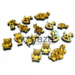 Набор деревянных декоративных резных пуговиц ассорти, 0.9 x 2.2 см., 15 штук, REGINA