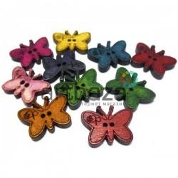 """Набор цветных деревянных декоративных пуговиц """"Бабочки"""", 1.7 x 2.3 см., 10 штук, REGINA"""