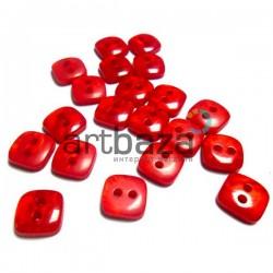Набор пластиковых декоративных пуговиц, красные с перламутром, 0.9 x 0.9 см., 20 штук, REGINA