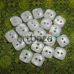 Набор пластиковых декоративных пуговиц, белые с перламутром, 0.9 x 0.9 см., 20 штук, REGINA