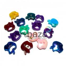 """Набор пластиковых декоративных пуговиц """"Apple"""" перламутровых, 1.5 x 1.7 см., 15 штук, REGINA"""