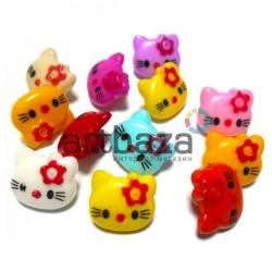 """Набор пластиковых декоративных пуговиц """"Kitty"""", 1.4 x 1.3 см., 12 штук, REGINA"""