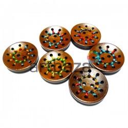 """Набор деревянных декоративных пуговиц """"Threads"""", тёмные, Ø3 см., 6 штук, REGINA"""