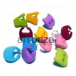 """Набор пластиковых декоративных пуговиц """"A B C"""", 1.3 x 1.3 см., 12 штук, REGINA"""