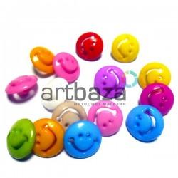 """Набор пластиковых декоративных пуговиц """"Смайл"""", Ø1.5 см., 15 штук, REGINA"""