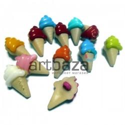 """Набор пластиковых декоративных пуговиц """"Мороженое рожок"""", 2.2 x 1.3 см., 12 штук, REGINA"""