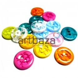 Набор пластиковых декоративных пуговиц, Ø1.2 см., 15 штук, REGINA