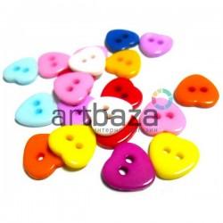 """Набор пластиковых декоративных пуговиц """"Сердце цветное"""", 1 x 1 см., 20 штук, REGINA"""