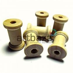 Набор неокрашенных деревянных декоративных катушек для ниток, Ø1.5 x 2.3 см., 6 штук, REGINA