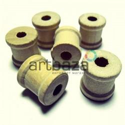 Набор неокрашенных деревянных декоративных катушек для ниток, Ø1.6 x 1.5 см., 6 штук, REGINA