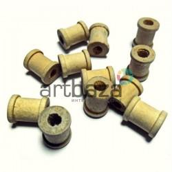 Набор неокрашенных деревянных декоративных катушек для ниток, Ø0.9 x 1.1 см., 12 штук, REGINA