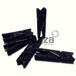 Набор деревянных декоративных прищепок с черным глиттером, 0.7 x 4.5 см., 5 штук, REGINA
