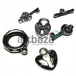 """Набор подвесок """"Ключики и замки"""" серебристых для скрапбукинга, 1.8 - 2.3 см., 6 штук, REGINA"""