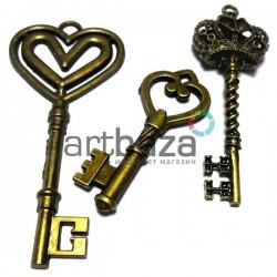 """Набор металлических подвесок винтажных """"Ключи"""", """"античная латунь"""" для скрапбукинга, 4.6 - 7 см., 3 штуки, REGINA"""