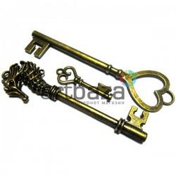 """Набор металлических подвесок винтажных """"Ключи"""", """"античная латунь"""" для скрапбукинга, 3.1 - 8.2 см., 3 штуки, REGINA"""