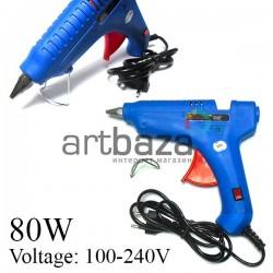 Термопистолет с кнопкой включения Hot Melt Glue Gun, 80W, 110V-240V, 50Hz/60Hz, Ø11 мм., HELI