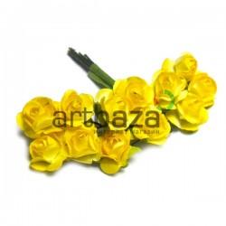 Набор декоративных диких розочек из ткани на проволоке, желтого цвета, Ø7 мм., 12 штук, REGINA