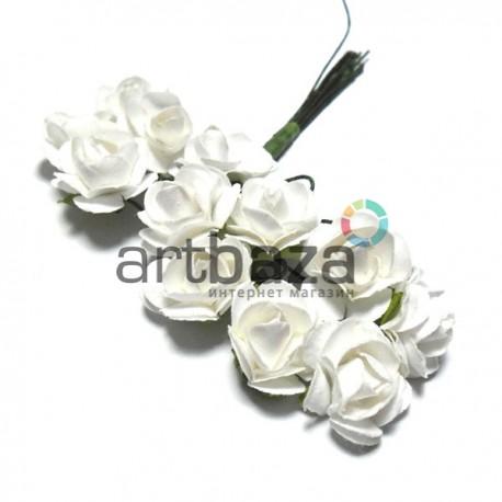 Набор декоративных диких розочек из ткани на проволоке, белых, Ø7 мм., 12 штук, REGINA