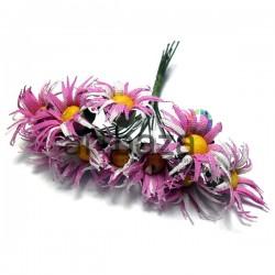 Набор декоративных ромашек из ткани на проволоке, бело - розовые, Ø20 мм., 10 штук, REGINA