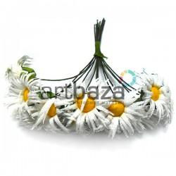 Набор декоративных ромашек из ткани на проволоке, белые, Ø25 мм., 12 штук, REGINA