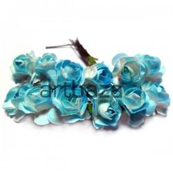 Набор декоративных диких розочек из ткани на проволоке, голубого цвета, Ø15 мм., 12 штук, REGINA