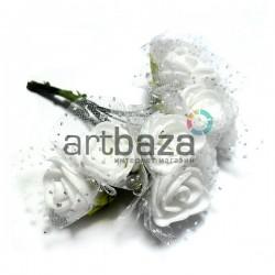 Набор декоративных розочек из латекса с белым фатином на проволоке, белого цвета, Ø20 - 25 мм., 10 штук, REGINA