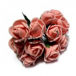 Набор декоративных розочек из латекса на проволоке, персикового цвета, Ø20 - 25 мм., 12 штук, REGINA
