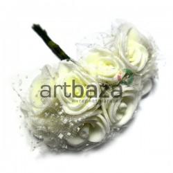 Набор декоративных розочек с фатином на проволоке, светло - кремового цвета, Ø20 мм., 10 штук, REGINA